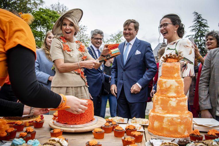 Koning Willem-Alexander en koningin Máxima tijdens Koningsdag 2019 in Amersfoort.  Beeld ANP