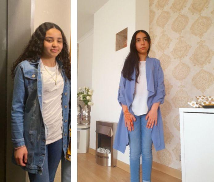 Aya El Ouakili Zaida (12, links) en haar vriendin Aya Talhi (13).