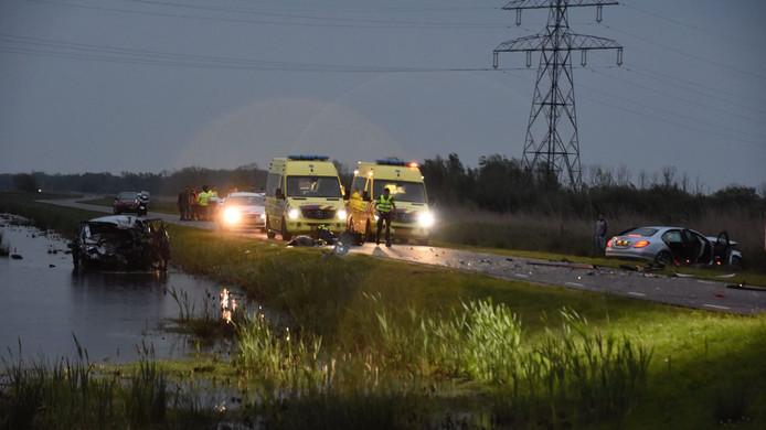 Na een botsing tussen twee auto's in de Biesbosch overleed woensdagavond een 78-jarige vrouw.