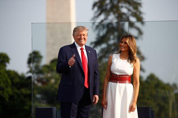 Donald Trump en zijn vrouw Melania komen aan voor de festiviteiten.