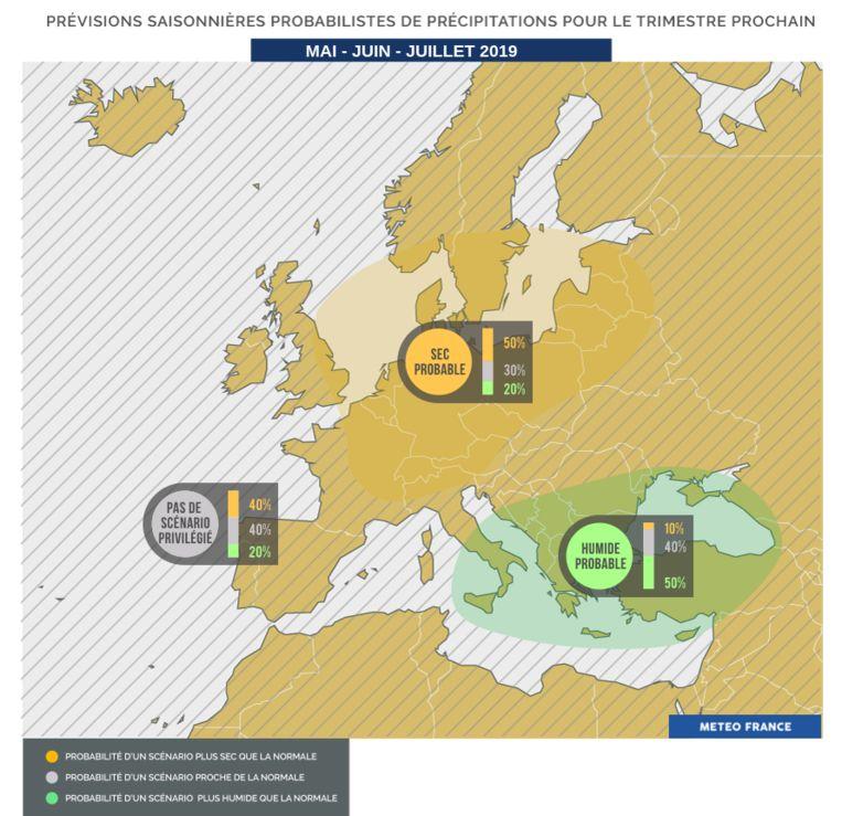 Het wordt droger dan normaal, zo blijkt uit een voorspelling van Météo-France.
