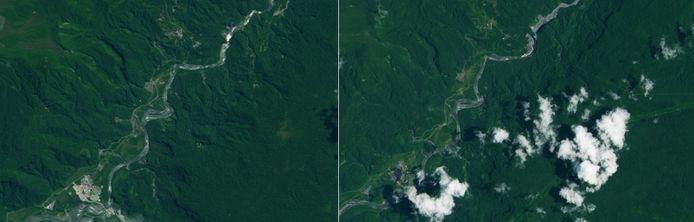 Twee NASA-foto's tonen het droogvallen van de San Rafael-waterval (het witte vlekje rechtsboven in de rivier op de foto's). De foto links is van 4 augustus 2014. De foto rechts van 13 maart 2020.