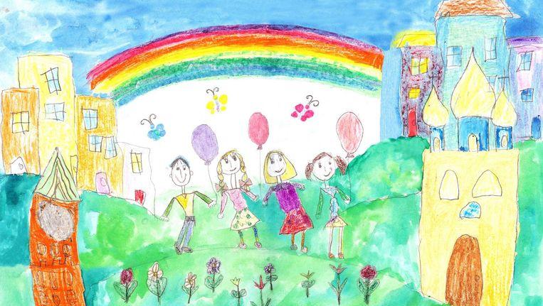 Tekening van kind in gezin met twee moeders. Beeld Strekalova/Getty