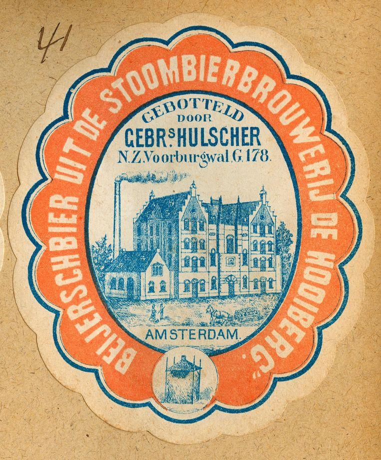 Het bieretiket van 1867, 150 jaar geleden, van de brouwerij aan toen nog de Buitensingel Beeld Heineken