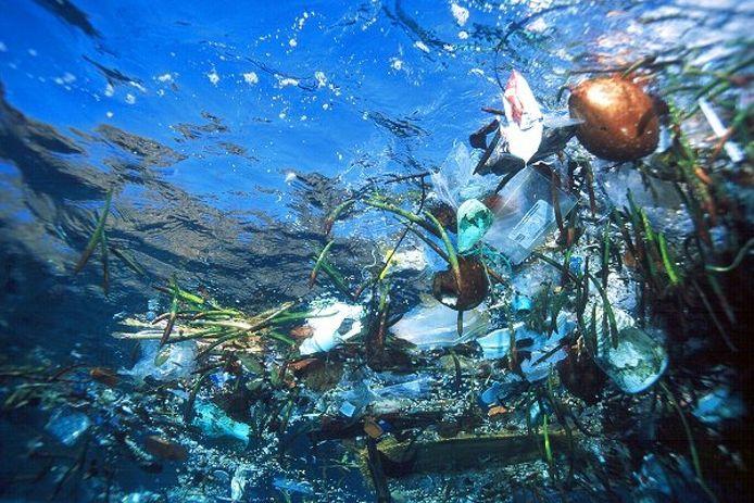 Plastic soup in de zee.