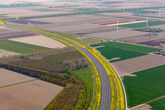 In de bocht van de A27 (rechts op de foto) wordt gewerkt aan de aanleg van toegangswegen naar de plekken waar in de toekomst 220 meter hoge windturbines van Windpark Zeewolde komen te staan.