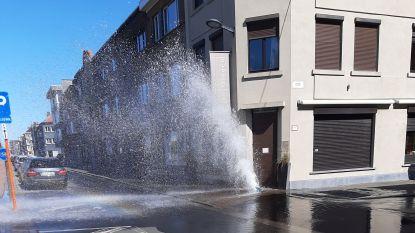 Water spuit als een geiser uit Oostends voetpad