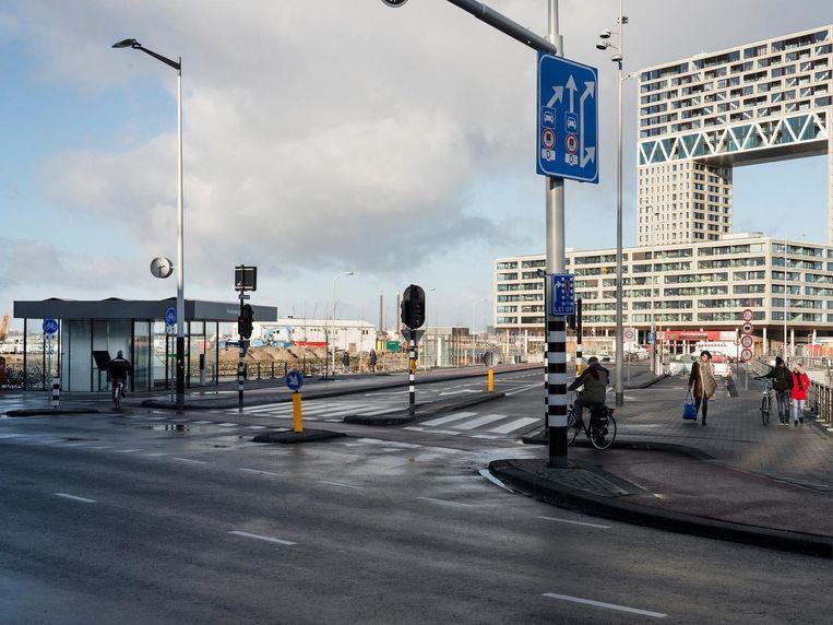 Tasmanstraat gezien richting de Pontsteiger in 2019. Beeld Maarten Steenvoort