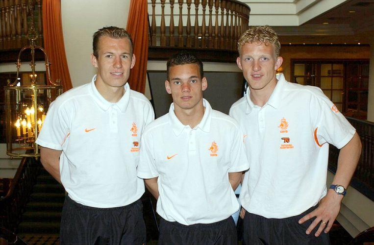 De drie debutanten tegen Portugal: Arjan Robben, Wesley Sneijder en Dirk Kuijt.