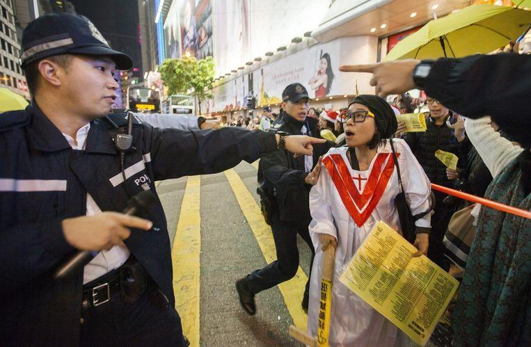 Betogers raakten in Hongkong slaags met de politie.