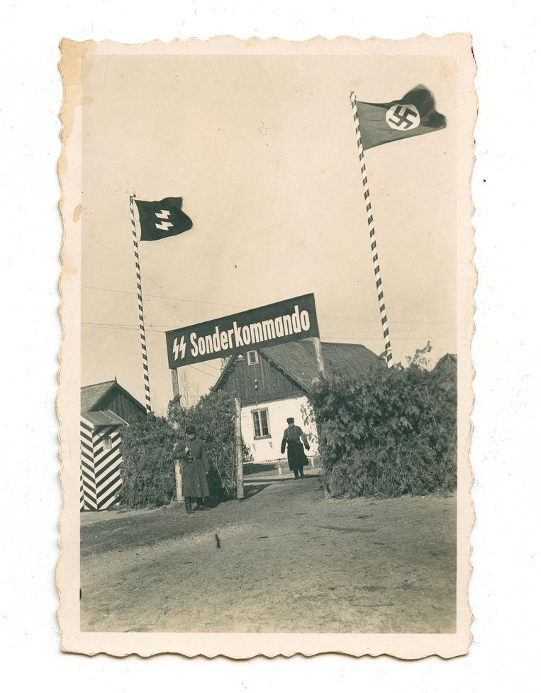 Een poort aan het nazikamp Sobibor.