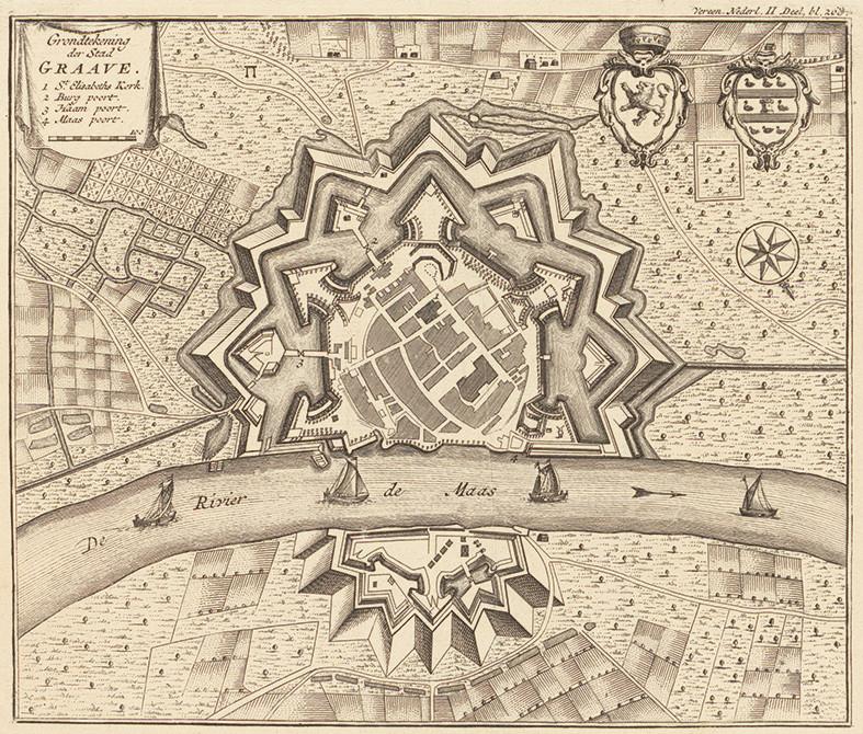 Grave in 1740, onderin het Kroonwerk Coehoorn. Illustratie: Rijksarchief Noord-Brabant.