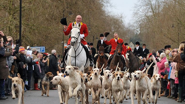 De Ashford Valley Fox Hunt gaat van start onder luid applaus in Tenderten, Kent, Groot-Brittannië.