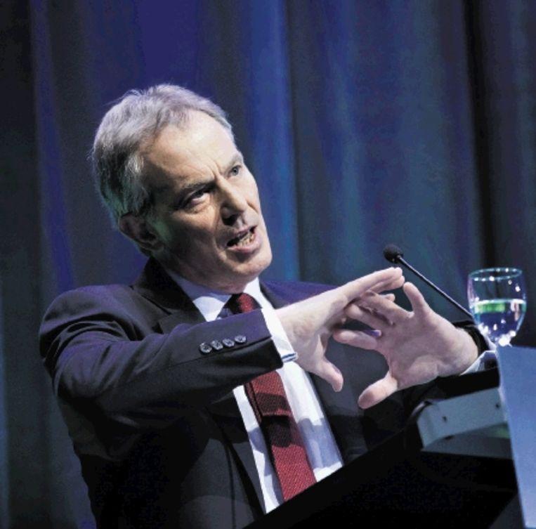 De Britse oud-premier Tony Blair, gisteren op een klimaatbijeenkomst in Den Haag. (FOTO JOÃ¿L VAN HOUDT) Beeld Joel van Houdt