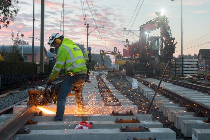 Werkzaamheden aan het spoor.