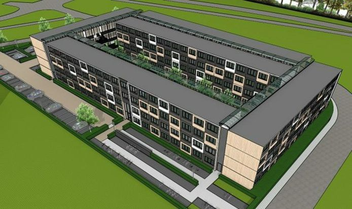 Studentenhuisvesting op de Kop van Kortenoord in Wageningen. Het kan er volgend jaar staan.