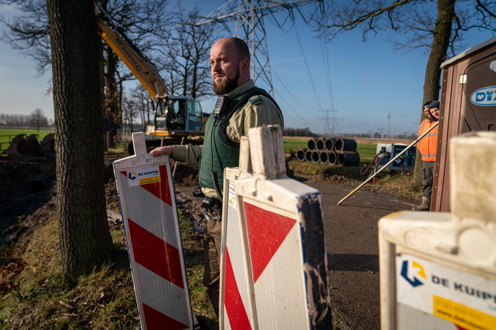 Waterschap Rivierenland heeft zonder permissie twee oude eiken op Landgoed Hemmen van gekapt. Op de foto boswachter Aart van Dorland.