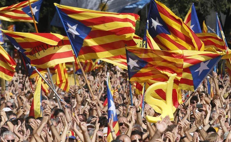 Archieffoto - Catalaanse separatisten bij een demonstratie in Barcelona.