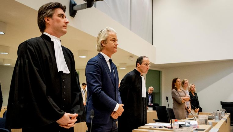 Kamerlid Geert Wilders staat terecht voor een uitspraak die hij in 2014 deed. Beeld anp
