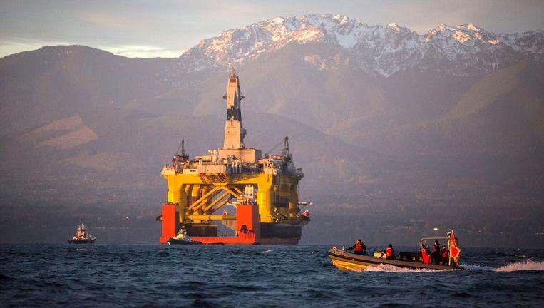 Shell mag boren voor de kust van Alaska. Beeld AP