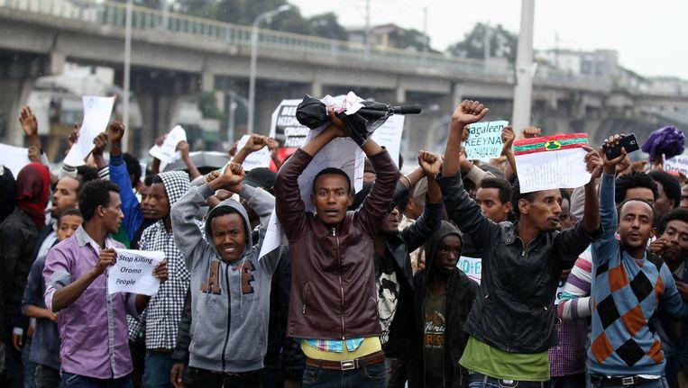 Demonstranten in de hoofdstad Addis Ababa, zaterdag. Beeld REUTERS