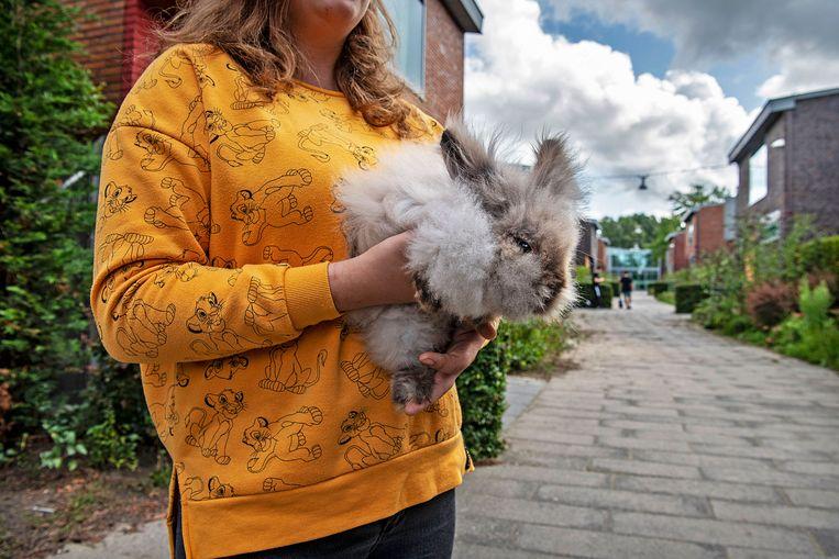Een van de jongeren (niet Lisette) in de jeugdzorgplusinstelling Transferium in Heerhugowaard, met haar steun en toeverlaat. Beeld Guus Dubbelman / de Volkskrant