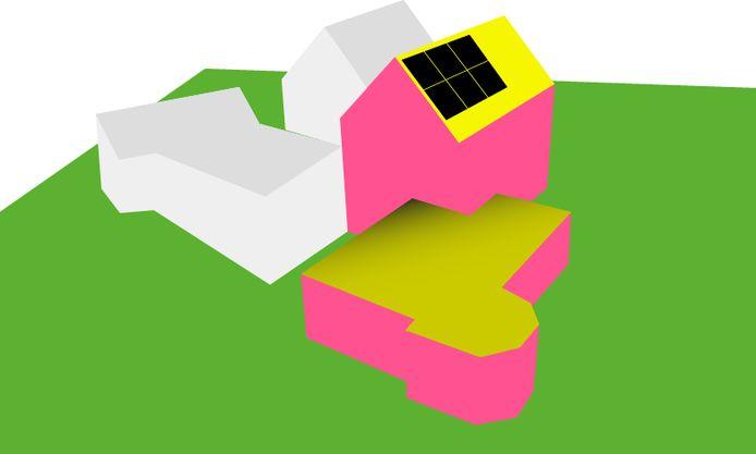 De 3D-weergave van een willekeurig huis. Na het invullen van het adres en aantal bewoners, kun je naar energiebehoefte het aantal zonnepanelen intekenen. Hoe geler het vlak, hoe meer zonlicht erop valt. Ook  andere duurzaamheidsmaatregelen worden berekend, zoals vloer, dak en spouwmuurisolatie.