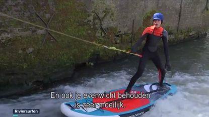 VIDEO. Surfen kan ook dicht bij huis, Steve en zoon Dylan riviersurfen op de Zwalmbeek