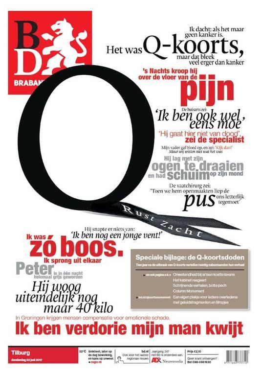 Het Brabants Dagblad sprak met de nabestaanden van Q-koorts. Dit is de voorpagina van donderdag 22 juni.