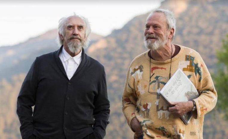 Regisseur Terry Gilliam met acteur Jonathan Pryce bij de opnamen in 2017.  Beeld