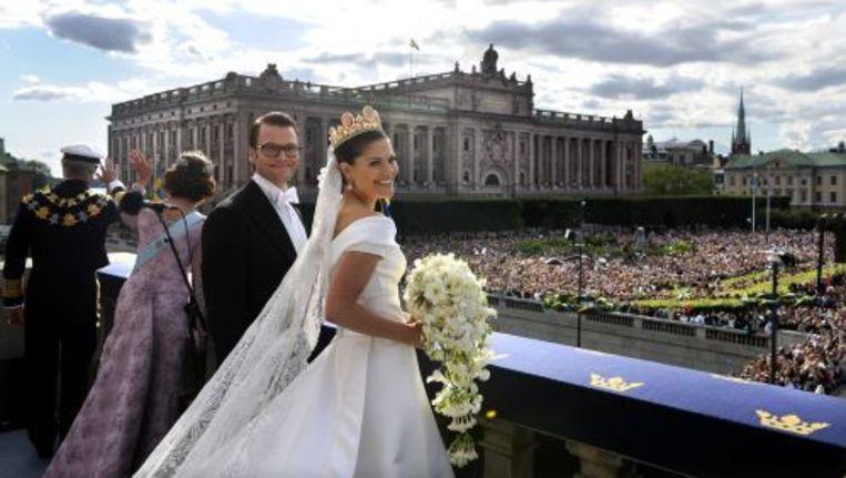 De Zweedse kroonprinses Victoria en haar echtgenoot Daniel op hun huwelijksdag. ANP Beeld
