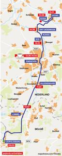 Route Leopoldsburg - Veghel van de colonne met historische legervoertuigen op zaterdag 14 september 2019.