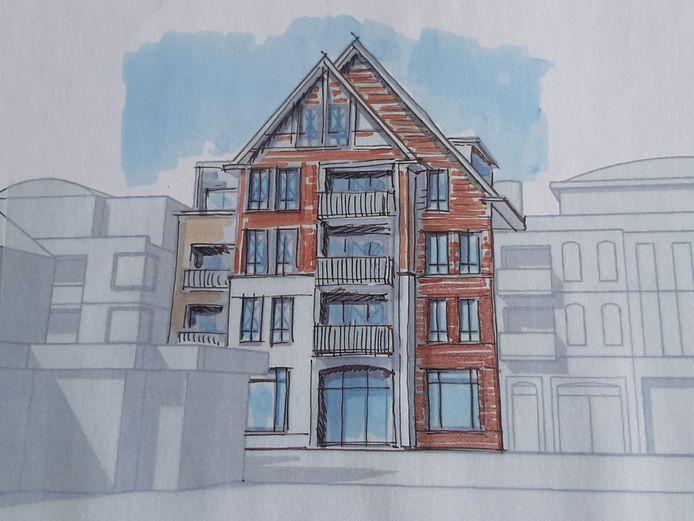 Deze schets van een gepland winkel-/appartementencomplex aan de Grotestraat 180 kan de prullenbak in. De Hellendoornse politiek vindt een gebouw van 20 meter op deze plek een bouwlaag te hoog.