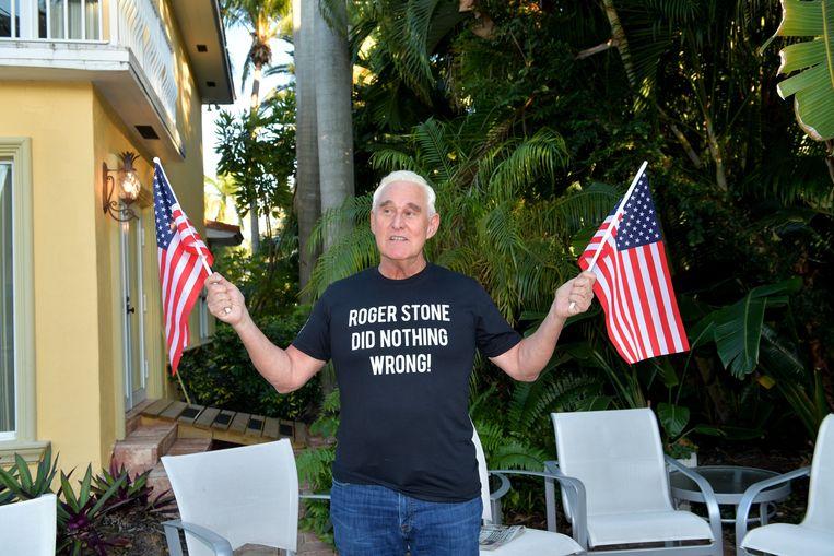 Roger Stone na zijn vrijlating Beeld Photo News