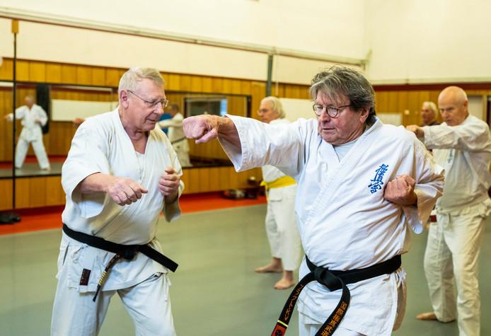 Karel van der Vlugt leert karate.