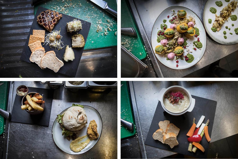 Gerechten uit de keuken van het veganistisch restaurant Mr & Mrs Watson in Amsterdam.