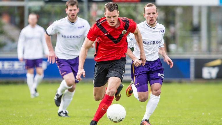 AFC heeft een belangrijke stap gezet richting lijfsbehoud, dankzij onder meer een doelpunt van Pieter Koopman. Beeld Pro Shots/Moniek Arends