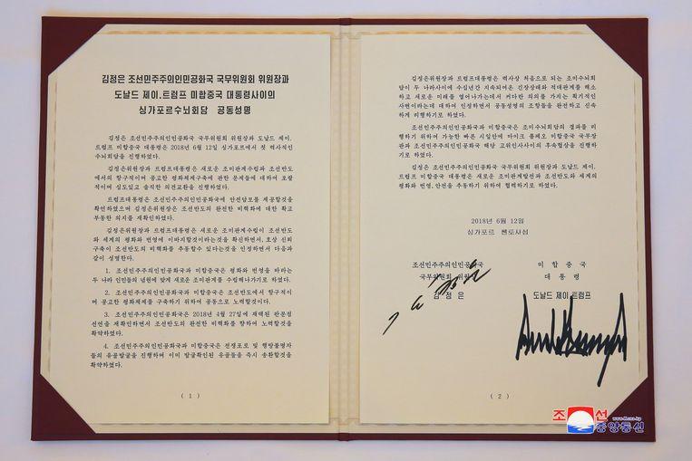 De Koreaanse versie van de verklaring die Kim en Trump gisteren ondertekenden.