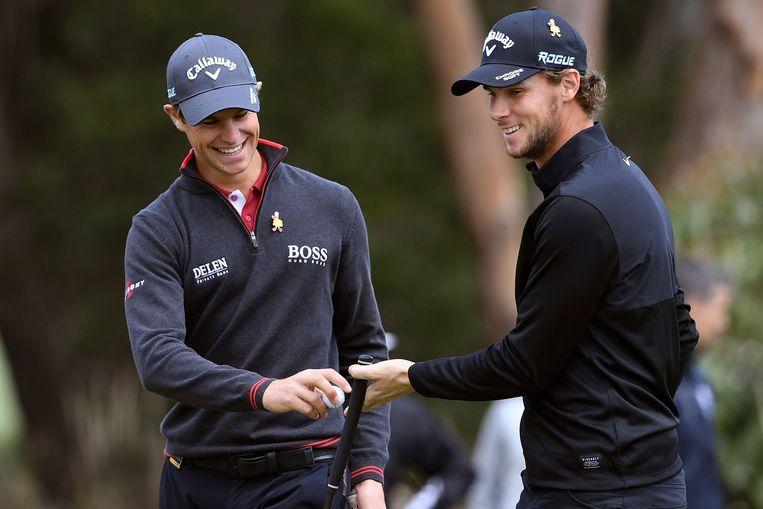 Thomas Detry (l) en Thomas Pieters zijn sterk bezig in Australië.