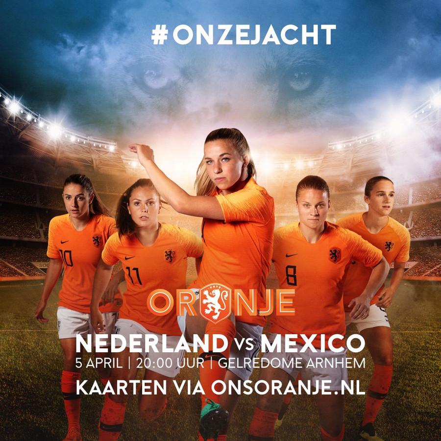 Het affiche van Nederland-Mexico in GelreDome.