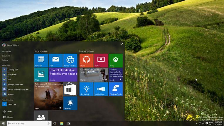 Terug van weggeweest in Windows 10: het startmenu.