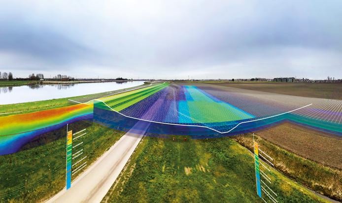 De 'combi-dijkscan' van waterschap Hollandse Delta levert informatie op uit alle lagen van een dijk.