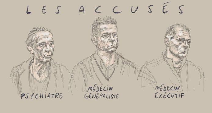 Ce dessin d'Igor Preys montre (de gauche à droite) le psychiatre accusé, le médecin généraliste accusé et le médecin exécutant accusé représentés le premier jour du procès d'assises de trois médecins devant la Cour d'assises de Flandre orientale, à Gand, le vendredi 17 janvier 2020.