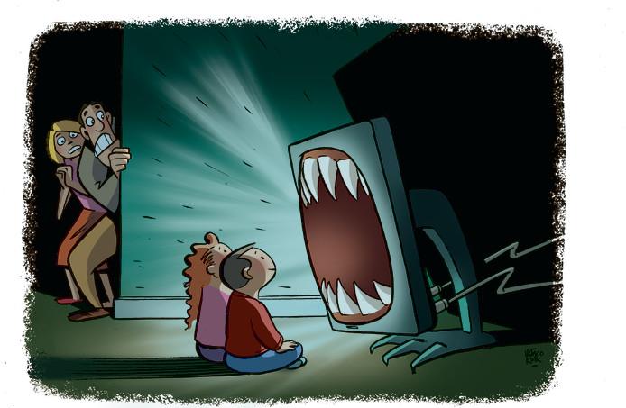 6fbf69def47d08 Illustratie  zitten kinderen te veel achter een beeldscherm