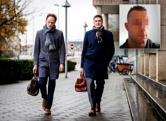 Advocaten Niels Dorrestein (R) en Sander de Korte van Michael P.