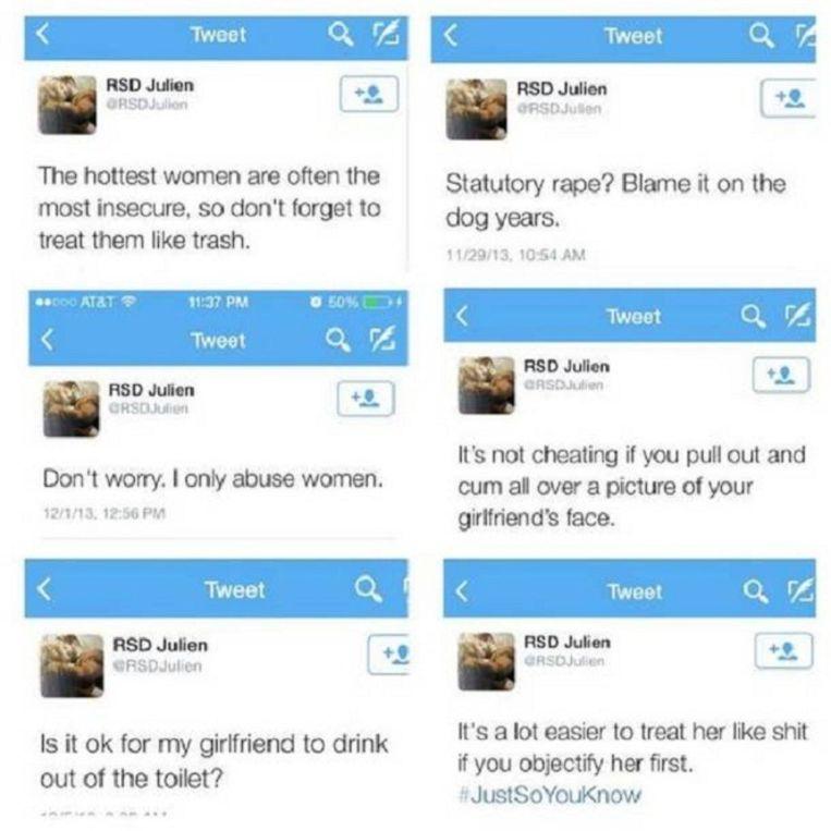Tweets van vrouwenversierder Julien Blanc. Beeld Twitter