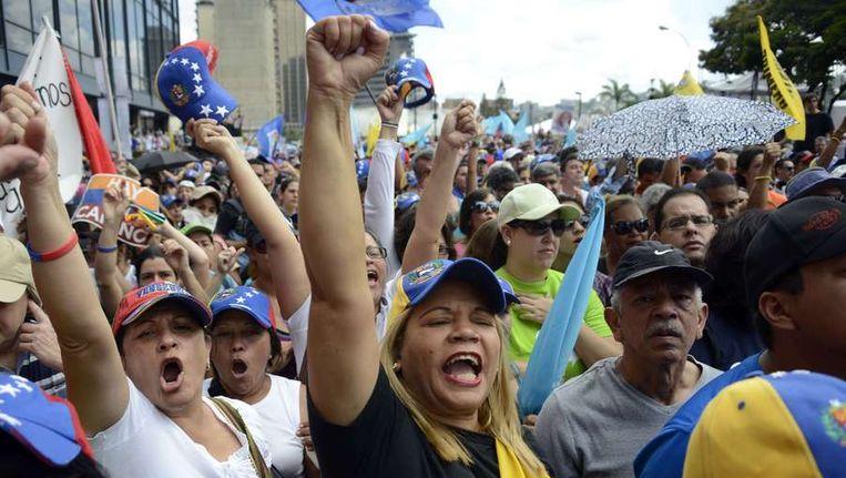 Demonstranten in de Venezolaanse hoofdstad Caracas. Beeld afp