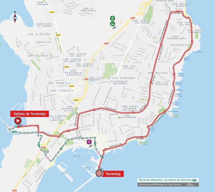 De route van etappe 1