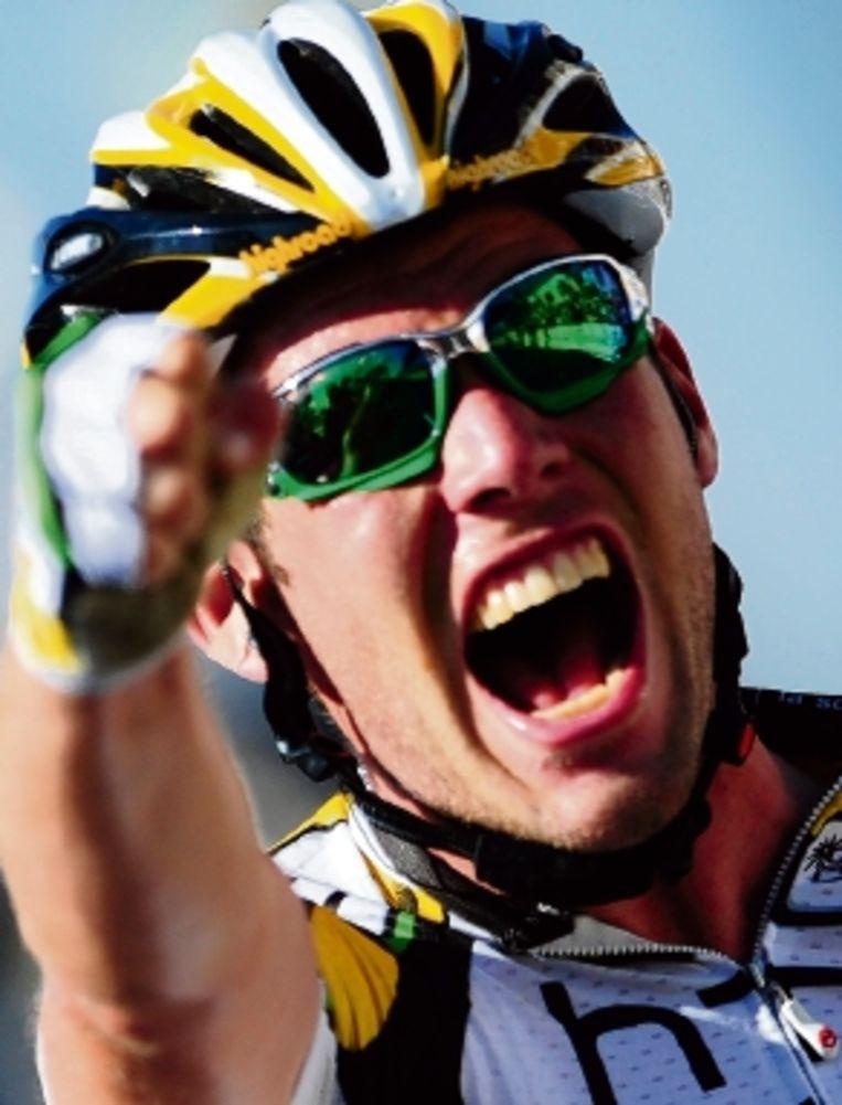De Brit Mark Cavendish was opnieuw de rapste in de massasprint. (FOTO AFP) Beeld