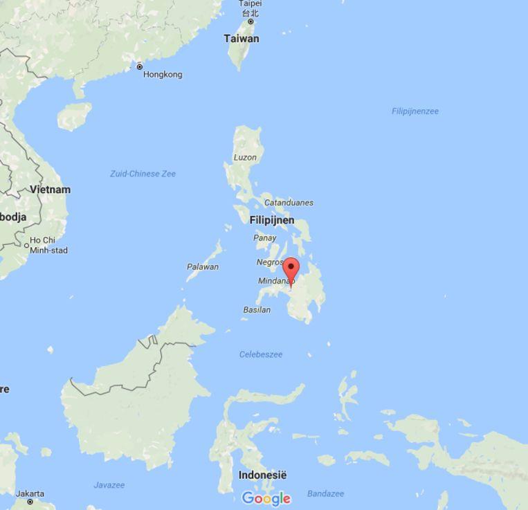 De stad Marawi ligt op het Filippijnse eiland Mindanao. Beeld Google Maps